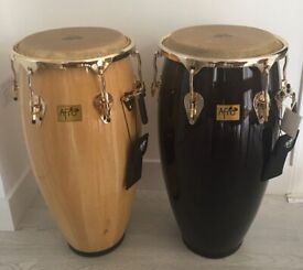 2 x Pearl Afro Elite Large Congas with 24k Gold Plated Components in Great Condition.