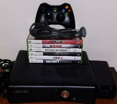 Xbox 360 Slim Console Complete With Controller All Wires And 6 Games