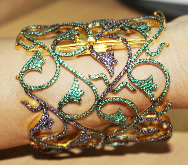 39.68ct Antique Look 925 Silver Amethyst Emerald Gemstone Bracelet