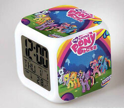 7 Colors LED Night Light Alarm Clock My little pony Figures Watch Toy timer doll