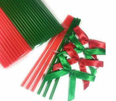 25pcs 6 in. Red and 25pcs Green Lollipop Sticks +  Bows for Christmas Party - Green Lollipops