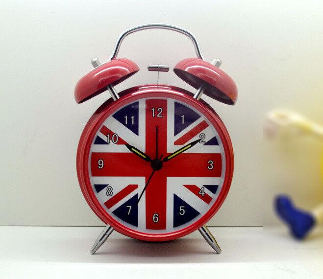 "Novelty English Flag Silent Sweep Night Light 4"" Luminous Analog Alarm Clock"