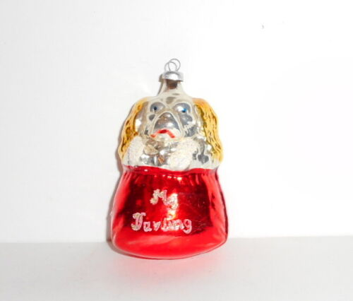 Vtg Christmas Ornament DOG IN GIFT BAG SACK My Darling Blown Glass West Germany