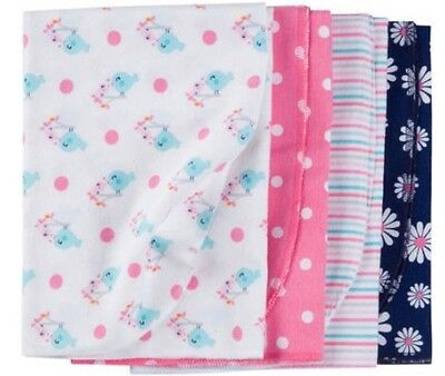 GERBER BABY GIRL'S 4-Pack Flannel Receiving Blankets  - DAIS
