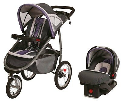 Graco FastAction Jogger Baby Stroller & SnugRide Car Seat Travel Set - Grapeade on Rummage