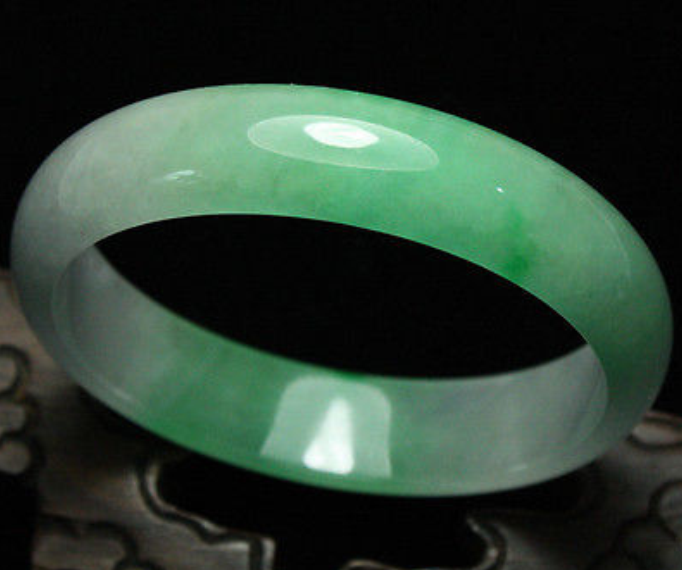 Fine Handmade Caved 100/% Natural white Jade Bangle Bracelet 60mm