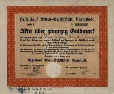 Hessenkauf AG 1924 Darmstadt Handelshof Darmstädter Volksbank 20 Goldmark Kupons