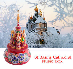 Russian Music Box.St. Basil's Cathedral.Handpainted Wood