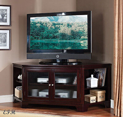 (NEW COLLINS ESPRESSO FINISH WOOD CORNER ENTERTAINMENT TV STAND CONSOLE CABINET)