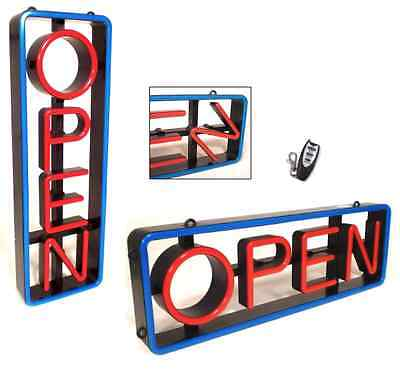 Lighted Led Open Sign Rectangular With Swivel Letters - Vertical Or Horizontal