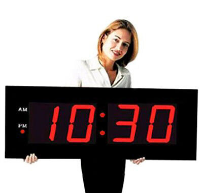 """Large Digital LED Clock  Giant 8"""" Numeral Red LED Wall Clock With Remote Control"""