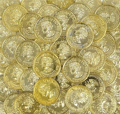 144 PLASTIC GOLD COINS PIRATE BOOTY Plastic Play Money #ST29 Free Shipping