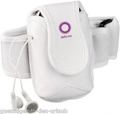 Handyhalter Handytasche f. Handy iPhone MP3 WEISS Sport / Joggen / Oberarm