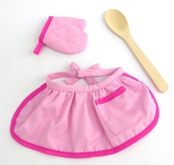 "Lovvbugg Pink Cooking Apron Mitt Set Cooking for 18"" American Girl Doll Clothes"