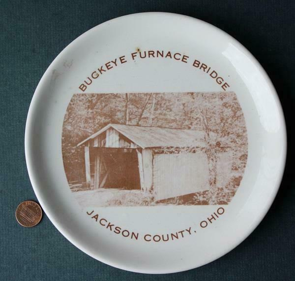1955 Wellston Ohio Buckeye Furnace Covered Bridge Centennial plate-Indiv. #