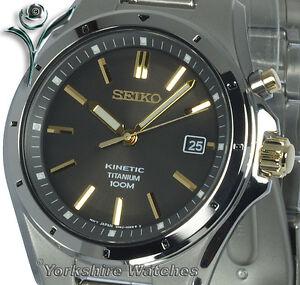 Mens SEIKO KINETIC FULL TITANIUM Metallic Bronze Dial 2 Year Warranty SKA495P1