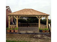 Gazebo ENGLISH OAK Framed Gazebo 4m x 4m with Balustrade to 3 sides