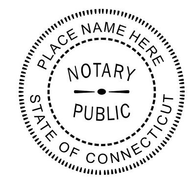 Notary For State Of Connecticut Custom - Round Self Ink Notary Rubber Seal Stamp