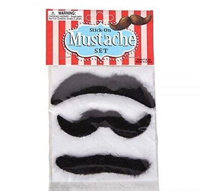 Party Novelties Halloween Costumes (Self-Adhesive Fake Mustache Set (3pcs) - Party Theater Costume Prop)