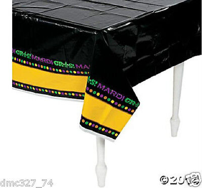 MARDI GRAS Fat Tuesday Party Decoration TABLE COVER Black Green Yellow Purple - Mardi Gras Table Decor