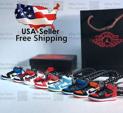 Kicksmini Air Jordan Yeezy Handcrafted 3D Sneaker Keychain with Box/Bag Gift Set