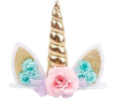 EINHORN Cake Topper Kuchendekoration Babyparty Kuchen Dekoration gold Mädchen (Party Kuchen Toppers)