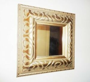 Beautiful Small Accent Pewter Square Wall Mirror - New
