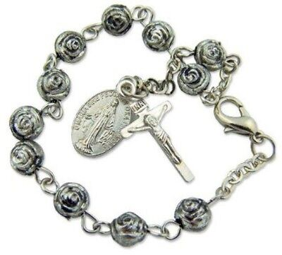 Womens Antique Silver 6MM Rosebud Bead Rosary Bracelet w Miraculous Mary (Pearl Silver Rosary Bracelets)
