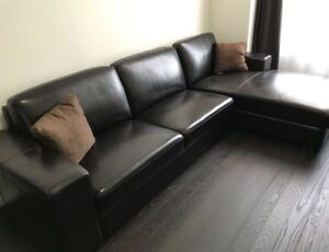 sectional sofa and chaise brown bonded leather PRICE DROPPED