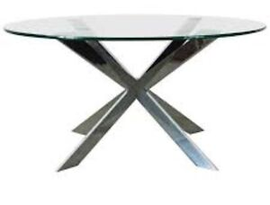 Glass Dining Room Table + 6 Grey Chairs