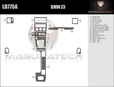 Dash Trim Kit for BMW Z3 96 97 98 99 carbon fiber wood aluminum Bmw Wood Dash Kits