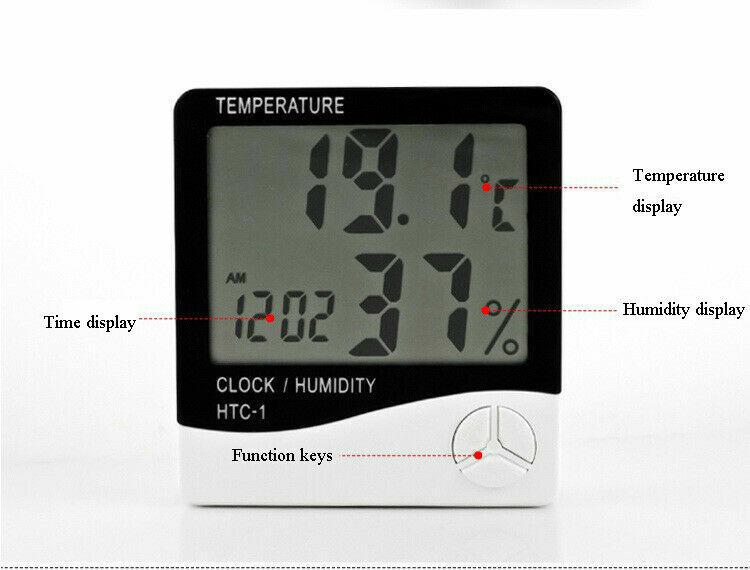 White Color Indoor Digital LCD Temperature Humidity Meter Clock