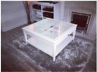 IKEA Liatorp White Glass Coffee Table