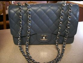 Chanel grey blue classic flap jumbo for sale