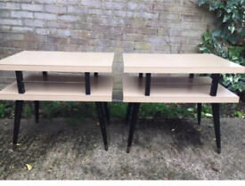 Pair of double stores American end tables vintage