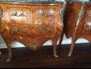 Louis XV style ormolu mounted pen work kingwood commodes
