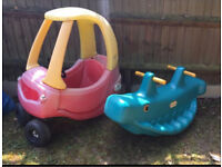 Little tikes cozy coupe car and whale rocker