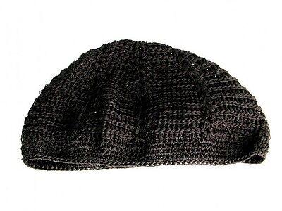 New Mens Knitted Skull Cap Kufi Beanie Hat - Black - Crochet Beanie Skully  Crochet Skull Cap Hat