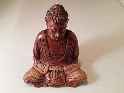 Buddha Handmade Carving in wood Murti in meditating pose in high quality kadam wood 7.5 inches Sculpture Gautam Buddha Idol