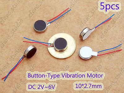 5pcs 10x2.7mm Dc 2v-6v 3v Button-type Vibration Motor Brushless Micro Motor Flat