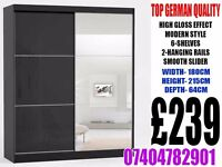 Brand New 2 Door Sliding wardrob with High Gloss Black/White Finish