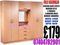 BRAND NEW 4 DOOR WARDROB WITH CHEST OF DRAWER/MIRROR, LIGHT BULB, READY ASSEMBLED