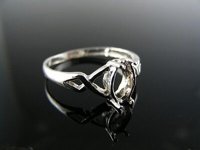 5452 Ring Setting, Sterling Silver, Size 7.75, 8x4 Mm Marquise - 4mm Marquise Ring Setting