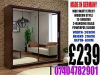 Brand New 2 Door Full Mirror Sliding wardrob Cupboard RRP£399