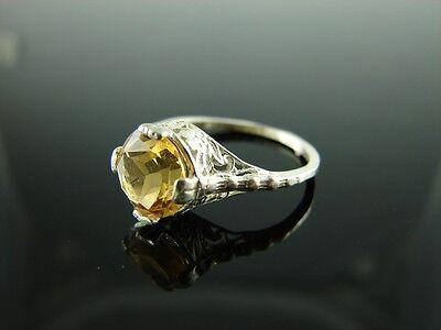 Sterling Silver Antique Style Filigree Ring Nat. Citrine Gemstone 9mmRing Sz7.75