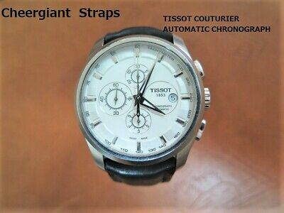 TISSOT COUTURIER AUTOMATIC CHRONO curved lug end leather strap Cheergiant straps