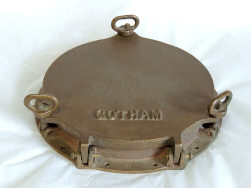 Antique Bronze Ships Storm Hatch Porthole Cover From Tugboat GOTHAM.. Nautical