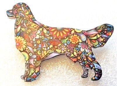 Golden Retriever Jewelry (Golden Retriever Dog Large Multicolor Acrylic Pin Brooch Jewelry )