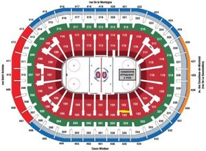 2 billets Canadiens vs Floride Panthers. Mardi 15 jan 2019 s.123