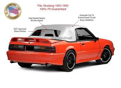 Ford Mustang Convertible Soft Top Replacement & Glass window WHITE Vinyl 1983-90